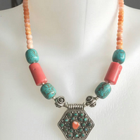 Pendant necklace,  Tibetan necklace,  Statement Necklace, Beaded necklace, Coral