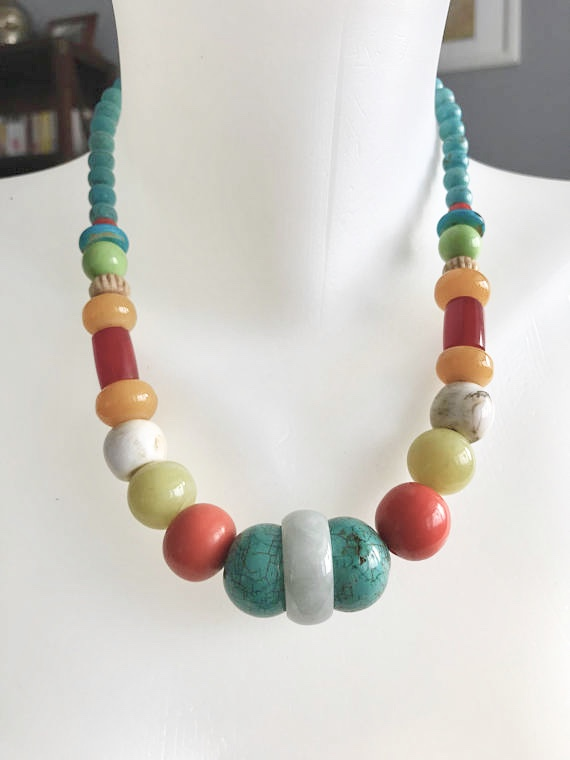 Turquoise necklace, Beaded necklace, Chunky beads necklace, Vintage beads