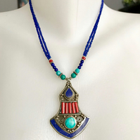 Ethnic necklace, Pendant necklace,Tibetan silver, Beaded necklace, Blue necklace