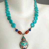 Coin turquoise necklace, Tibetan silver, Beaded necklace,Ethnic jewellery