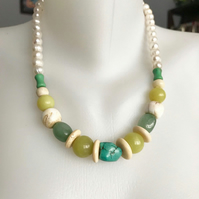Statement necklace,Chunky Beads, Soft colour necklace, Beaded necklace,Mix beads