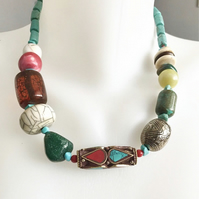 Mixed beads necklace, Chunky beads necklace,Statement necklace, Ethnic necklace