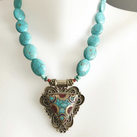 Pendant necklace, Tibetan necklace, Turquoise necklace, Statement necklace,