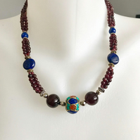 Garnet necklace, Lapis garnet necklace, Statement necklace, Beaded necklace