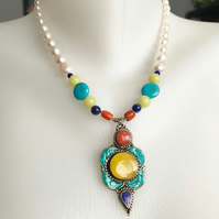 Pendant necklace, Tibetan necklace, Pearl necklace, Statement necklace,