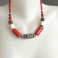 Coral necklace, Red necklace, Statement necklace, Tibetan necklace