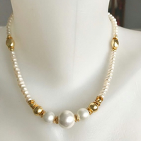 Pearl necklace, Gold filled Pearl necklace, Freshwater pearl necklace