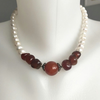 Pearl necklace, Carnelian necklace, Freshwater pearl necklace,Statement necklace