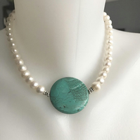 Statement necklace, Pearl necklace, Coin turquoise necklace, Beaded necklace