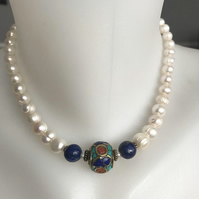 Lapis necklace, Ethnic jewellery, Pearl necklace ,Statement necklace