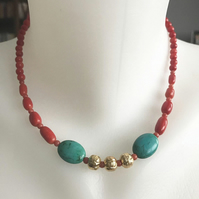 Coral necklace, Turquoise necklace, Gemstone necklace, Vintage beads necklace