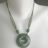 Jade pendant necklace, Green necklace, Jade doughnut, Green necklace, Agate