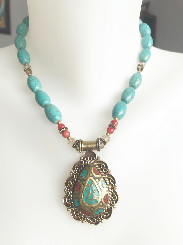 Brass pendant necklace, Statement necklace, Turquoise necklace,