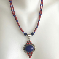 Lapis Necklace , Beaded necklace, Pendant necklace, Vintage coral beads