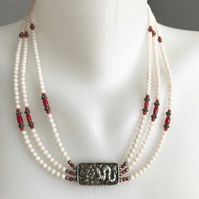 Statement necklace, Tibetan Necklace, Layered necklace, Coral necklace