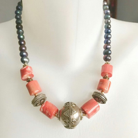 Statement necklace, Vintage beads necklace, Tibetan necklace, Ethnic jewellery