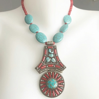 Pendant necklace, Huge pendant necklace, Tibetan pendant necklace,