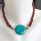 Coin turquoise necklace, Carnelian necklace, Statement necklace, Gemstone
