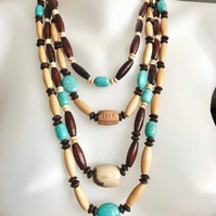 Wooden necklace, Layered necklace, Turquoise necklace,