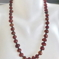 Vintage carnelian nuggets beads necklace, Beaded necklace, 24 inches necklace