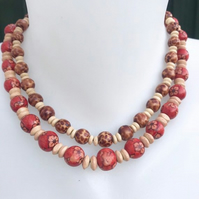 Stretch necklace, wooden necklace, beaded necklace
