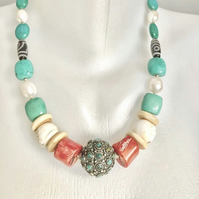 Tibetan necklace,Tibetan jewellery,Chunky beads necklace, vintage beads necklace