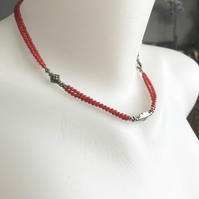 Beaded necklace,Coral necklace, sterling silver necklace,Red necklace