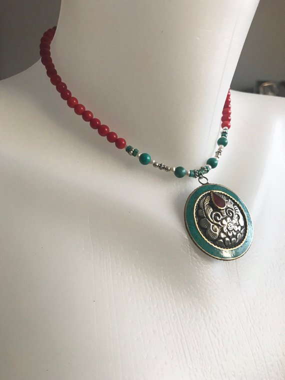 Choker pendant necklace, Beaded necklace,Pendant necklace, Ethnic necklace