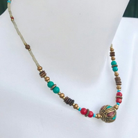 Ethnic jewellery,Beaded necklace, Tibetan necklace,Mix beads necklace, Vintage