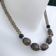 Beaded necklace, statement necklace,Smoky quartz necklace