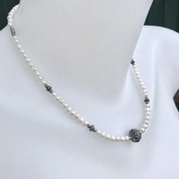 Freshwater pearls necklace, Sterling silver necklace, Beaded necklace