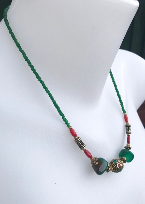 Tibetan necklace, Jade brass necklace, Vintage necklace, Mix beads necklace