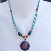 Om pendant necklace, Om necklace, Tibetan necklace, Pendant necklace