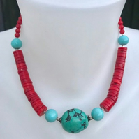 Statement necklace, Tibetan Necklace, Coral necklace, Turquoise necklace