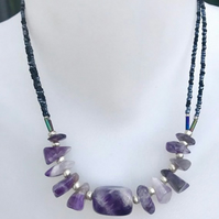 Amethyst necklace, beaded necklace, gemstone necklace, Christmas gift ideas