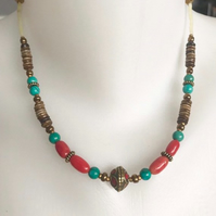 Tibetan necklace, Vintage beads jewellery, Ethnic jewellery, Beaded necklace