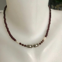 Gemstone necklace, Garnet necklace, Gift for her, January stones