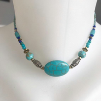 Turquoise Necklace, Ethnic necklace, Blue necklace, Choker necklace, 14 inches