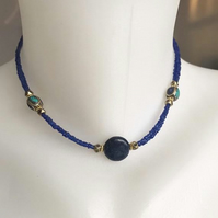 Lapis necklace, 15 inches necklace, Coin Lapis necklace,