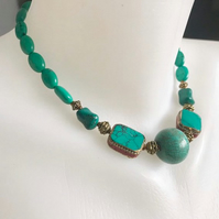 Turquoise Necklace,  Tibetan necklace, Beaded necklace, Gift for mum