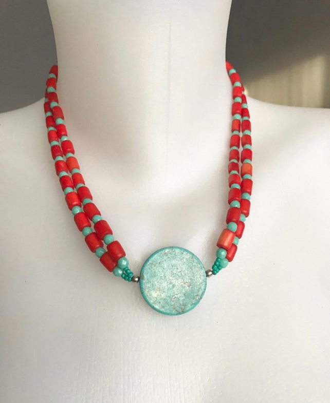 Coin turquoise Necklace, Beaded necklace,Double line necklace, gift for mum