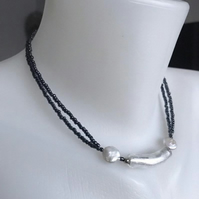Coin pearl necklace, Hematite necklace,Mother of pearls , Gift for mum,