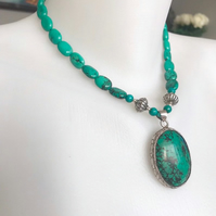 Turquoise necklace, Beaded necklace, Turquoise pendant, Pendant necklace,