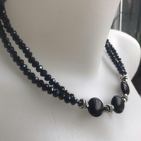 Onyx necklace, Sparkly necklace, Black Onyx necklace, Faceted beads necklace