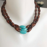 Wooden beads necklace, Multistrand necklace, Beaded necklace, Turquoise necklace