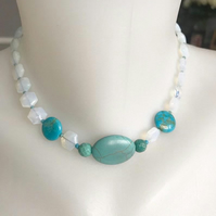 Turquoise necklace, Beaded necklace, Choker necklace, 15.5 inches necklace