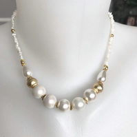 Pearl necklace, Shell pearl necklace, Beaded necklace, Rice pearl necklace