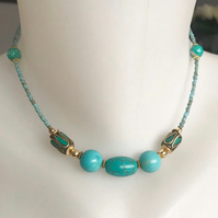 turquoise necklace, Beaded necklace, Choker necklace,