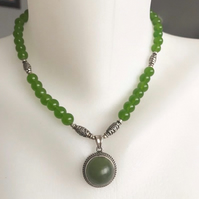 Jade necklace,Pendant necklace,Beaded necklace,Gemstone necklace,Sterling silver