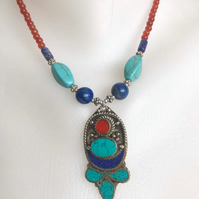 Pendant necklace,  Tibetan necklace,Semiprecious Necklace, Beaded necklace